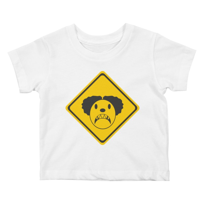 Scary Clown Crossing Kids Baby T-Shirt by Shirt For Brains