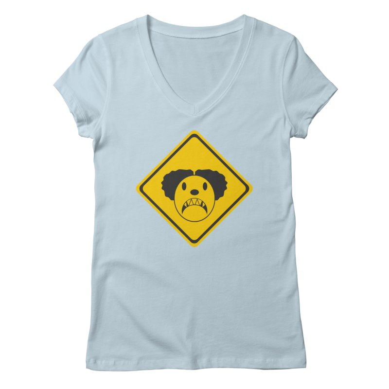 Scary Clown Crossing Women's V-Neck by Shirt For Brains