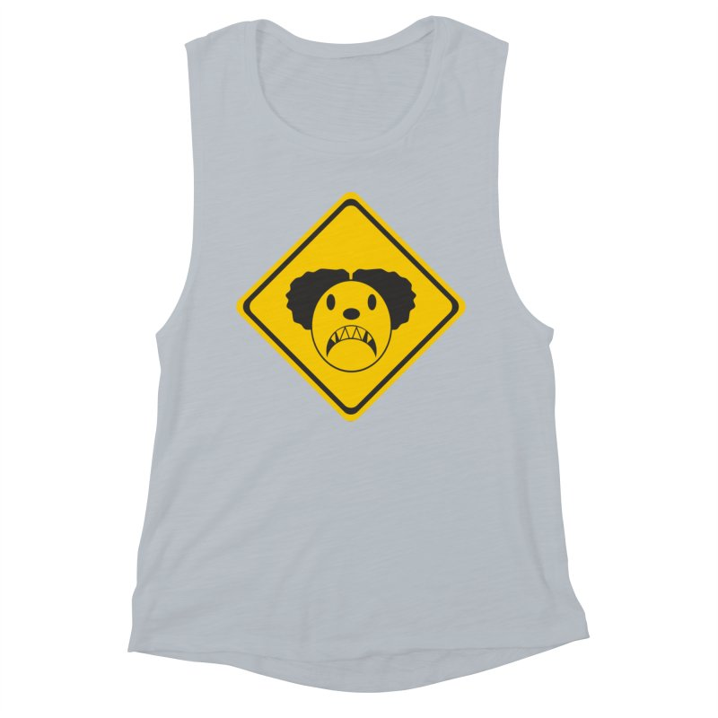 Scary Clown Crossing Women's Tank by Shirt For Brains