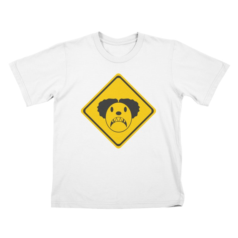 Scary Clown Crossing Kids T-Shirt by Shirt For Brains