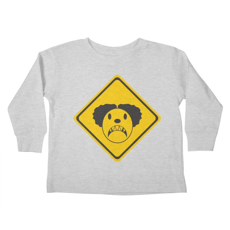 Scary Clown Crossing Kids Toddler Longsleeve T-Shirt by Shirt For Brains