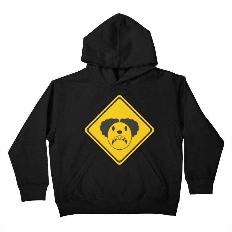 Scary Clown Crossing Kids Pullover Hoody by Shirt For Brains