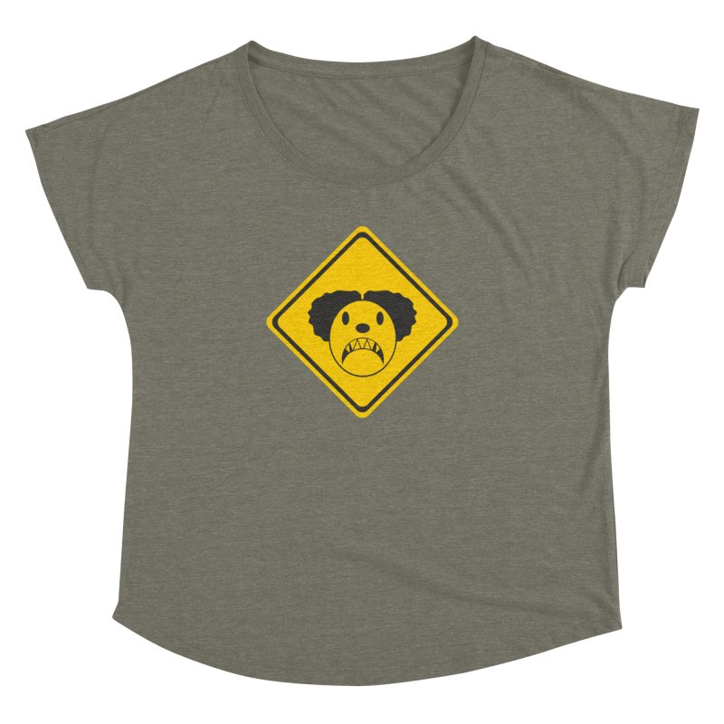 Scary Clown Crossing Women's Dolman Scoop Neck by Shirt For Brains