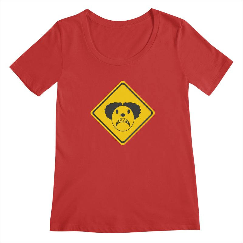 Scary Clown Crossing Women's Regular Scoop Neck by Shirt For Brains