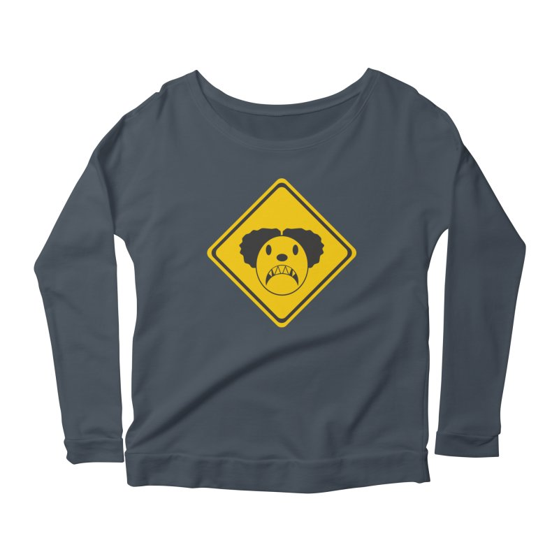 Scary Clown Crossing Women's Scoop Neck Longsleeve T-Shirt by Shirt For Brains