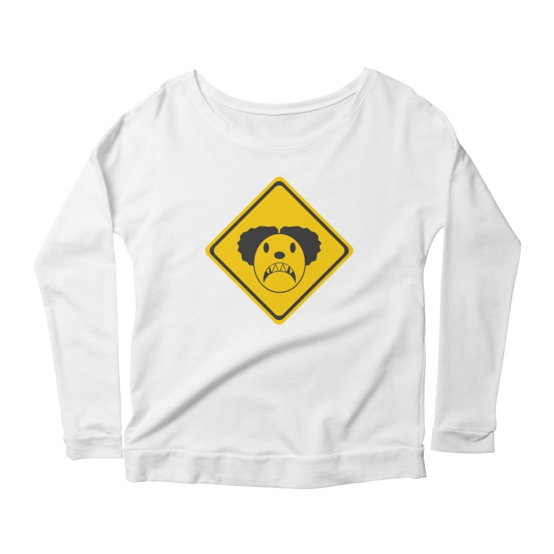 Scary Clown Crossing Women's Longsleeve T-Shirt by Shirt For Brains