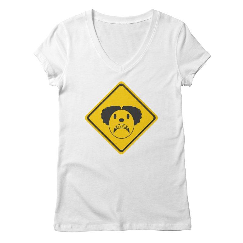 Scary Clown Crossing Women's Regular V-Neck by Shirt For Brains