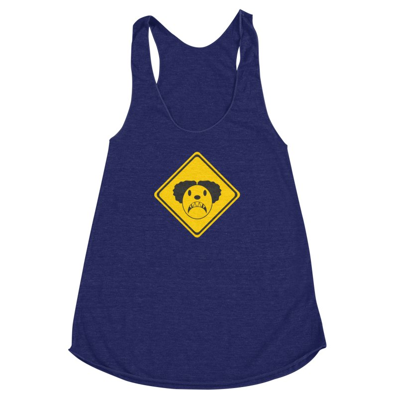 Scary Clown Crossing Women's Racerback Triblend Tank by Shirt For Brains