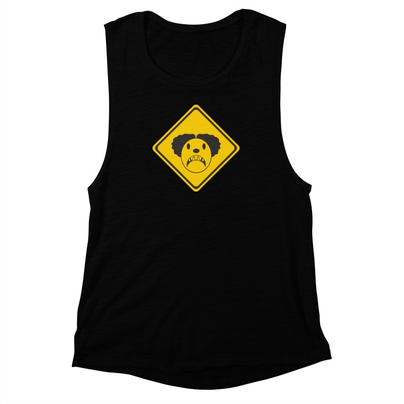 Scary Clown Crossing Women's Muscle Tank by Shirt For Brains