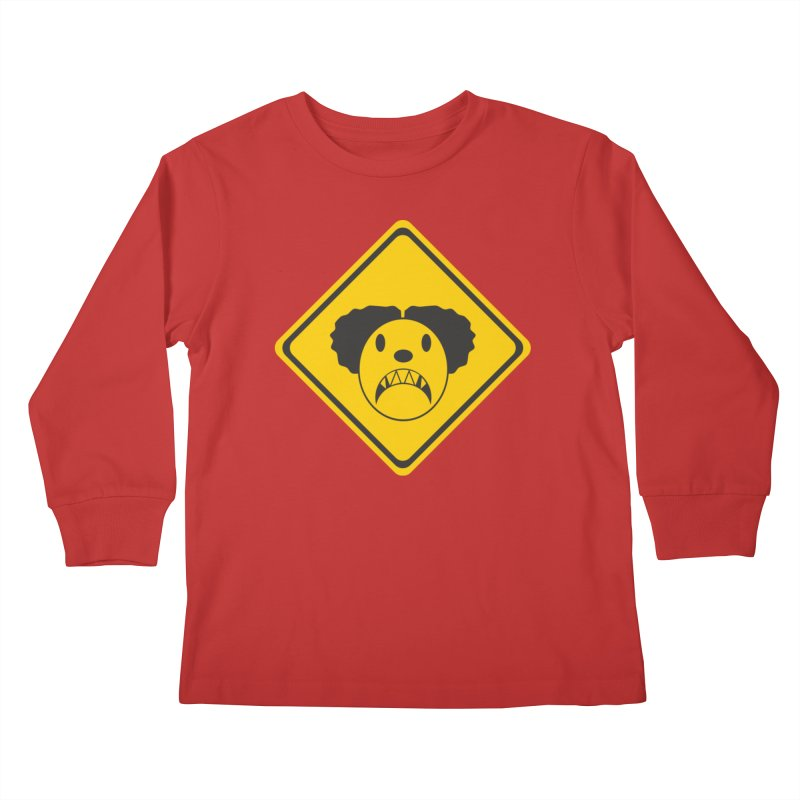 Scary Clown Crossing Kids Longsleeve T-Shirt by Shirt For Brains