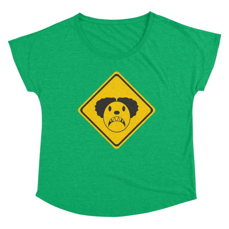 Scary Clown Crossing Women's Scoop Neck by Shirt For Brains