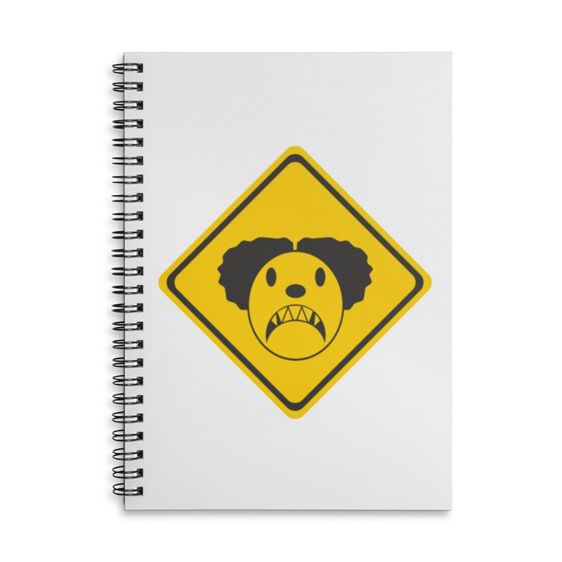 Scary Clown Crossing Accessories Lined Spiral Notebook by Shirt For Brains