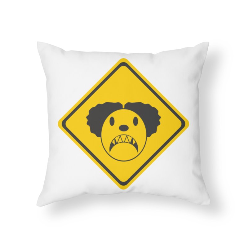 Scary Clown Crossing Home Throw Pillow by Shirt For Brains
