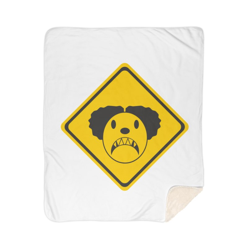 Scary Clown Crossing Home Sherpa Blanket Blanket by Shirt For Brains