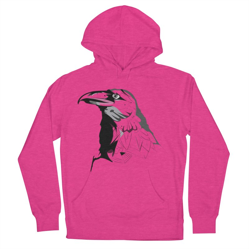 Crow Headshot Women's French Terry Pullover Hoody by Shirt For Brains