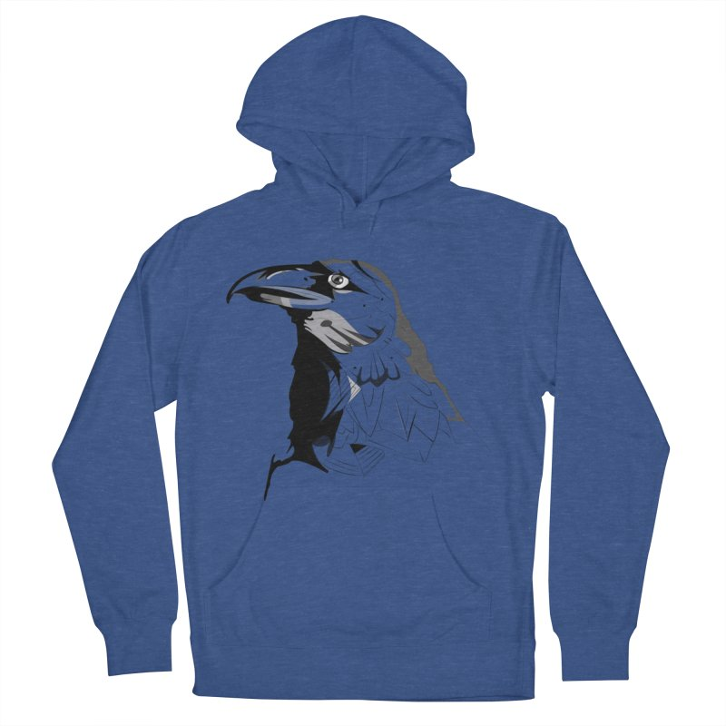 Crow Headshot Men's French Terry Pullover Hoody by Shirt For Brains