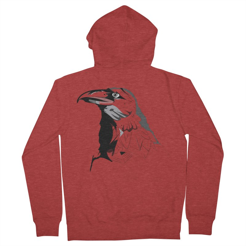 Crow Headshot Women's French Terry Zip-Up Hoody by Shirt For Brains
