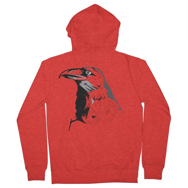Crow Headshot Men's Zip-Up Hoody by Shirt For Brains