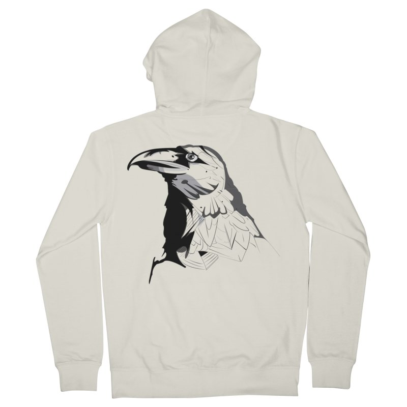 Crow Headshot Men's Zip-Up Hoody by Shirt For Brains