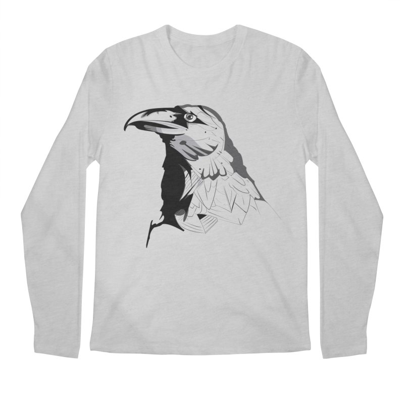 Crow Headshot Men's Longsleeve T-Shirt by Shirt For Brains