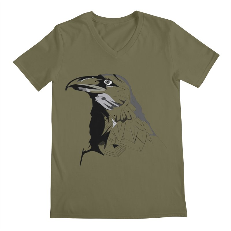 Crow Headshot Men's V-Neck by Shirt For Brains
