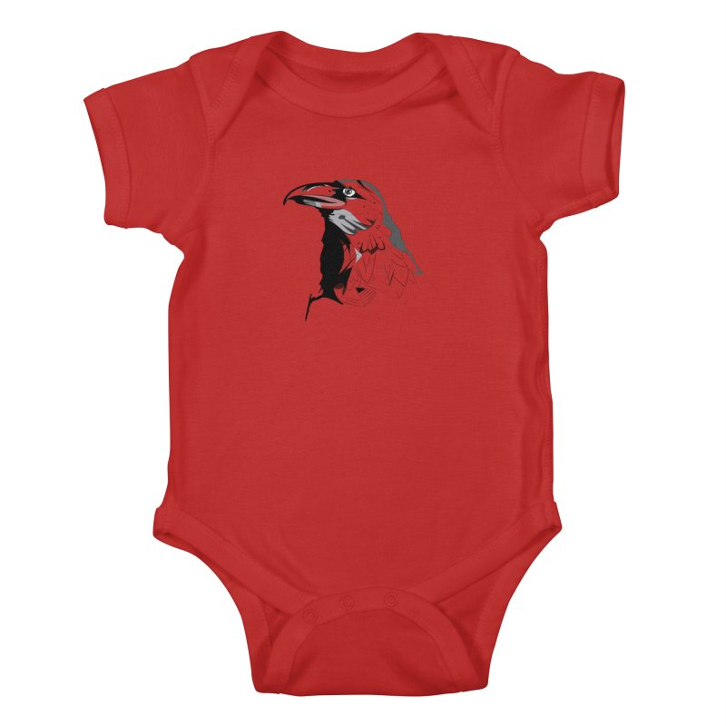 Crow Headshot Kids Baby Bodysuit by Shirt For Brains