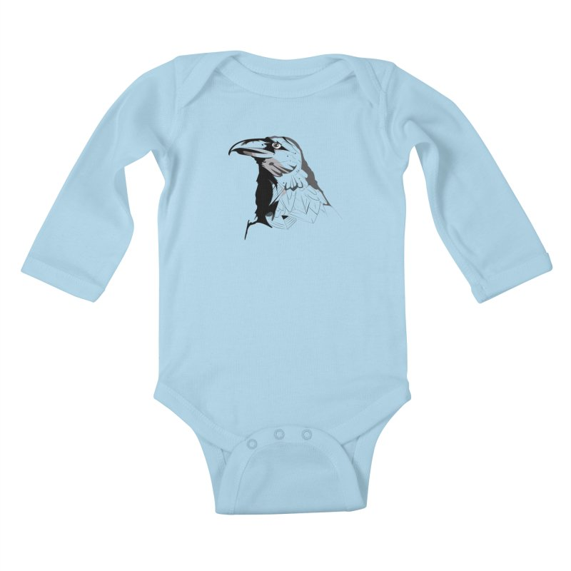 Crow Headshot Kids Baby Longsleeve Bodysuit by Shirt For Brains