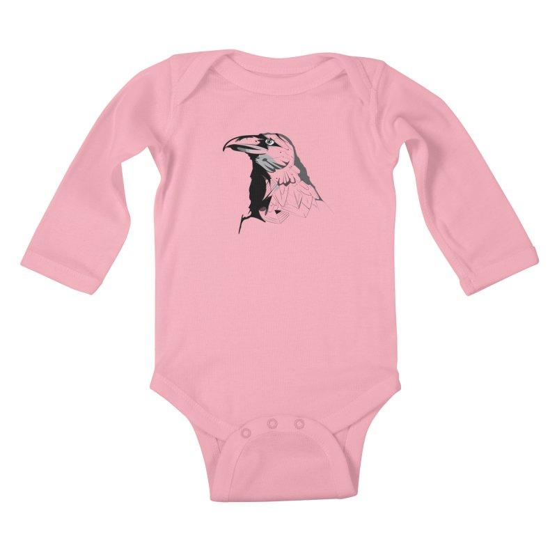 Crow Headshot Kids Baby Longsleeve Bodysuit by Shirt For Brains
