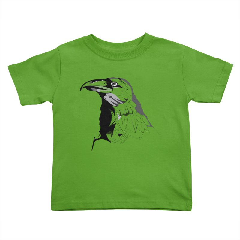 Crow Headshot Kids Toddler T-Shirt by Shirt For Brains