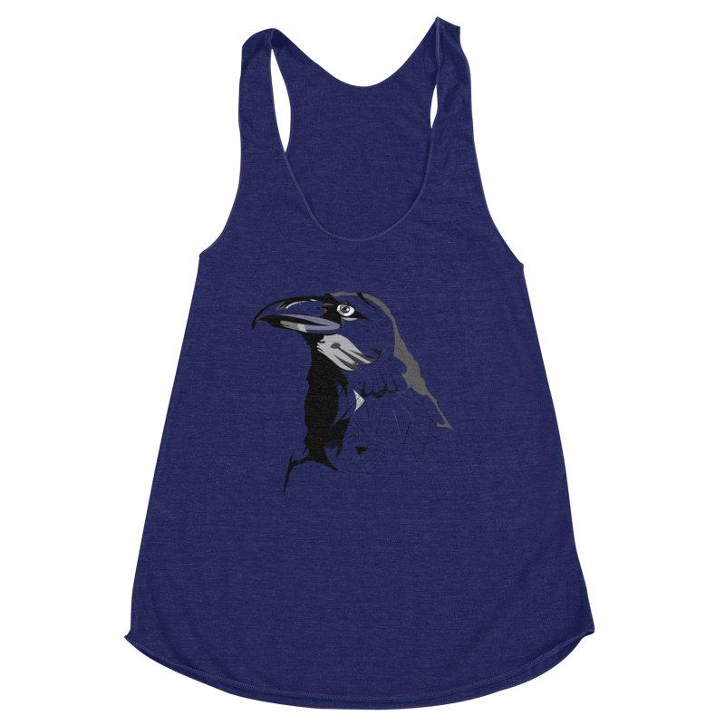 Crow Headshot Women's Racerback Triblend Tank by Shirt For Brains