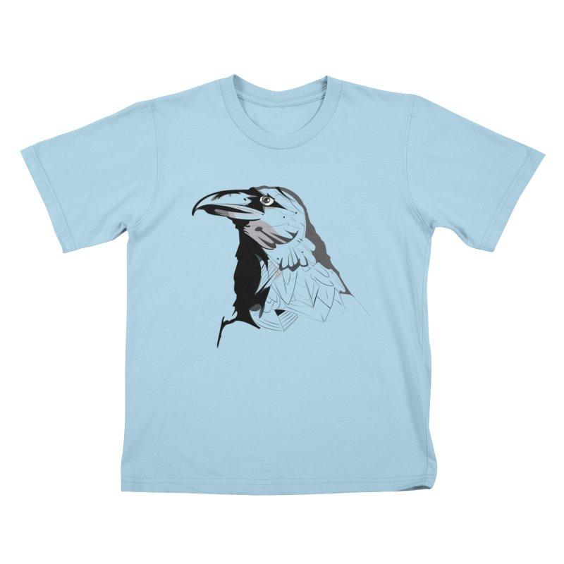 Crow Headshot Kids T-Shirt by Shirt For Brains