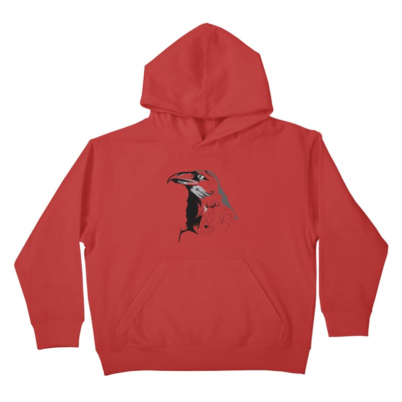 Crow Headshot Kids Pullover Hoody by Shirt For Brains