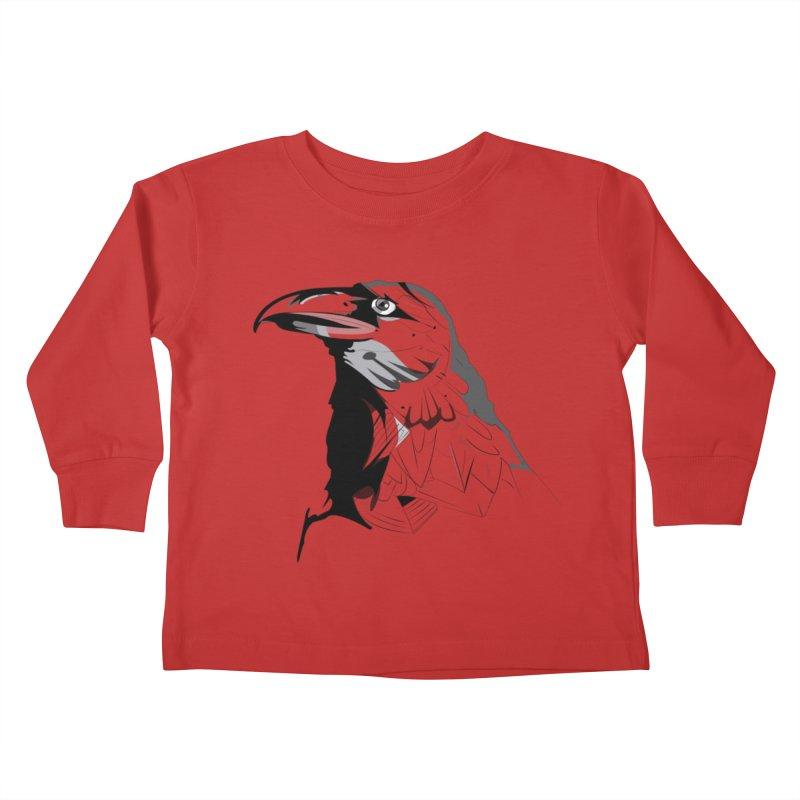 Crow Headshot Kids Toddler Longsleeve T-Shirt by Shirt For Brains
