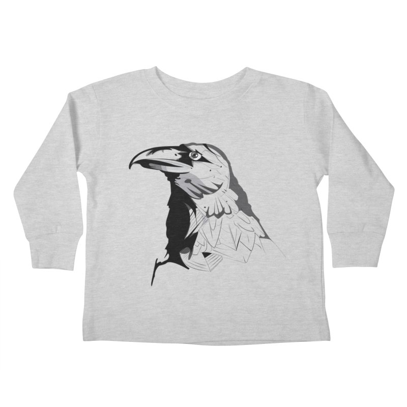 Crow Headshot Kids Toddler Longsleeve T-Shirt by Shirt For Brains