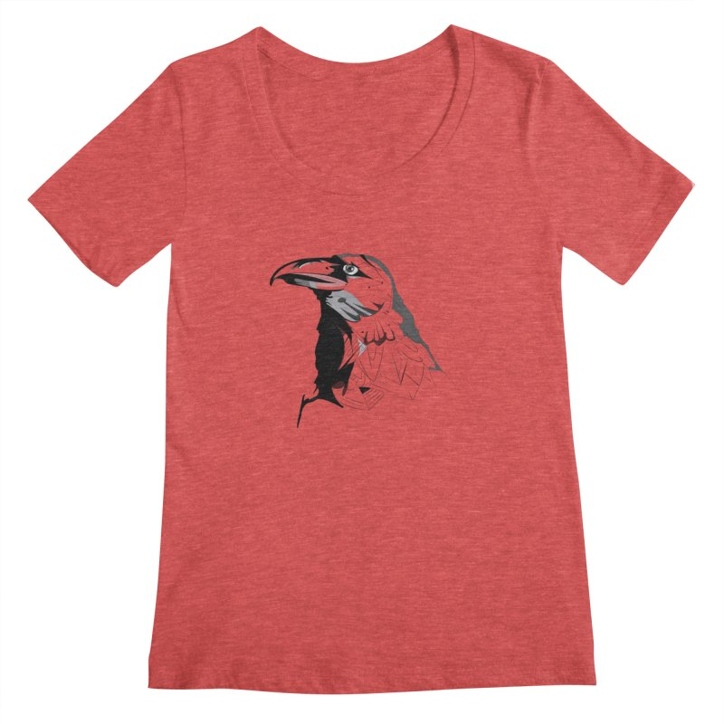 Crow Headshot Women's Regular Scoop Neck by Shirt For Brains