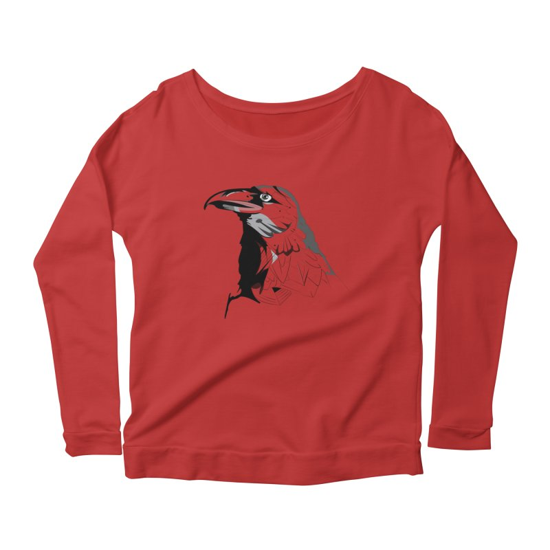 Crow Headshot Women's Scoop Neck Longsleeve T-Shirt by Shirt For Brains