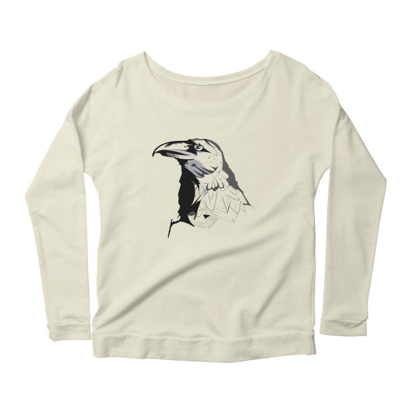 Crow Headshot Women's Scoop Neck Longsleeve T-Shirt by Shirt For Brains