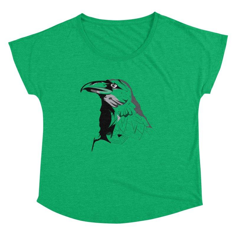 Crow Headshot Women's Dolman Scoop Neck by Shirt For Brains