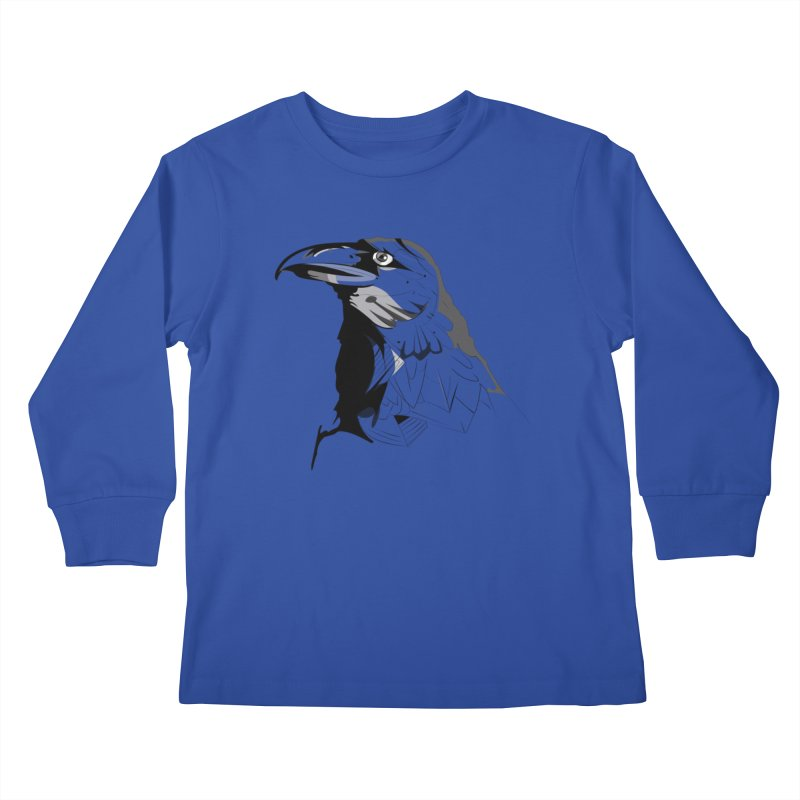 Crow Headshot Kids Longsleeve T-Shirt by Shirt For Brains