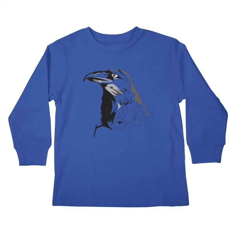 Crow Headshot Kids Longsleeve T-Shirt by Shirt For Brains
