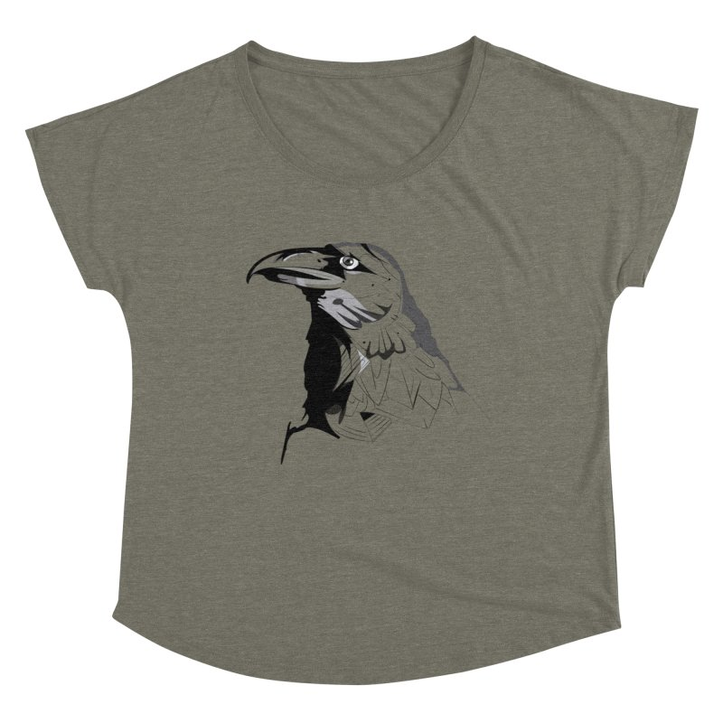 Crow Headshot Women's Scoop Neck by Shirt For Brains