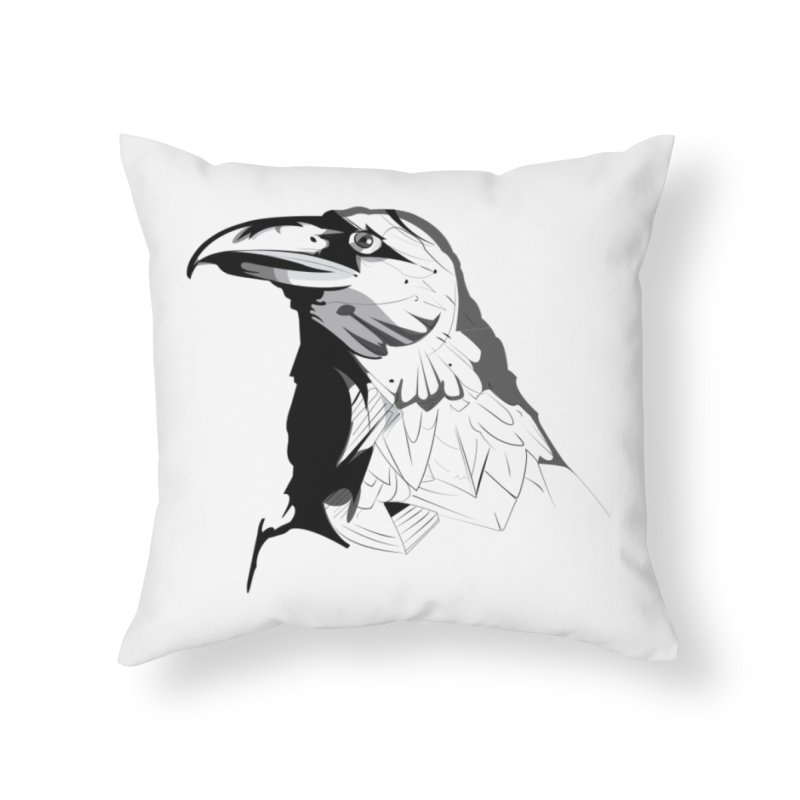 Crow Headshot Home Throw Pillow by Shirt For Brains