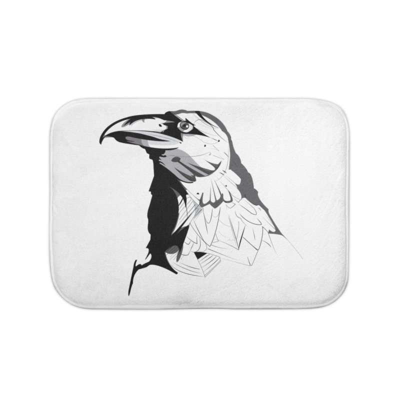Crow Headshot Home Bath Mat by Shirt For Brains