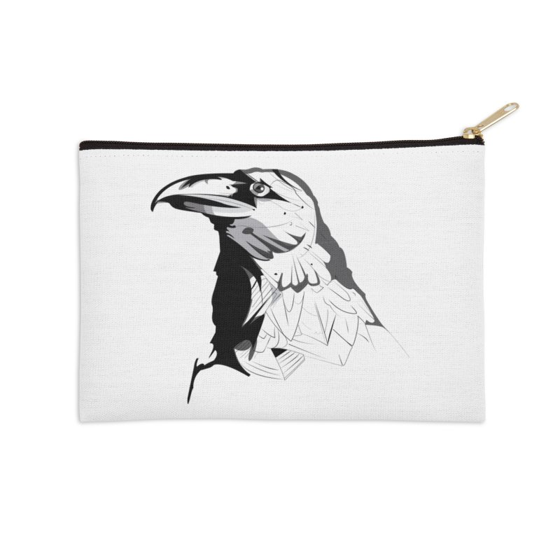 Crow Headshot Accessories Zip Pouch by Shirt For Brains