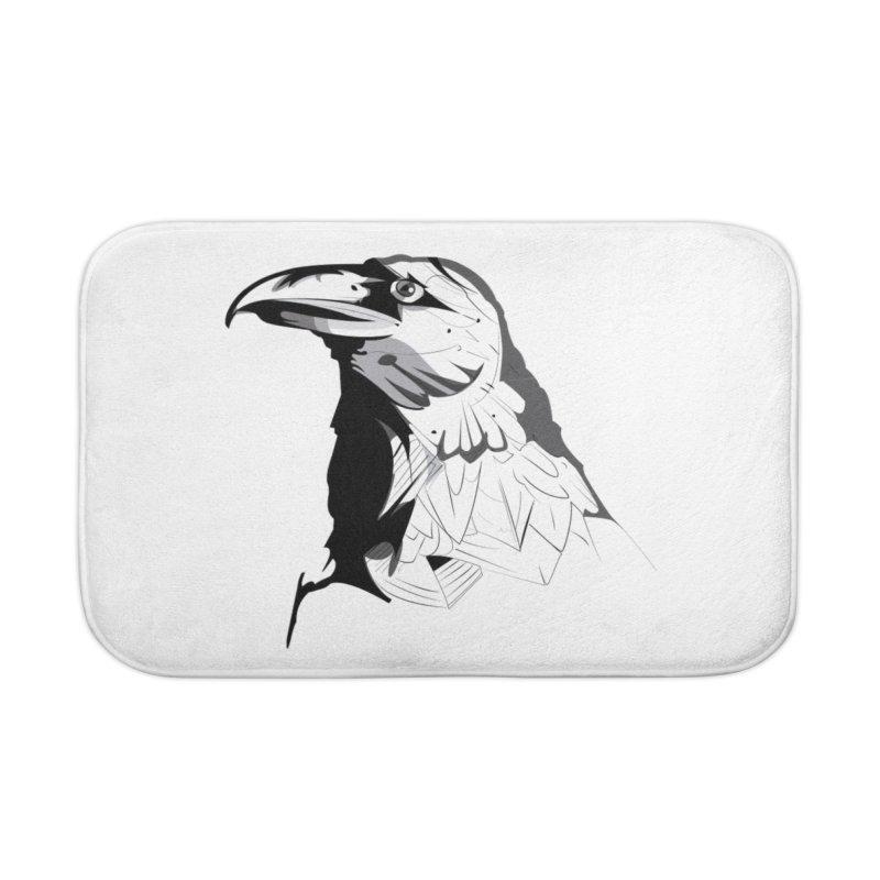 Crow Headshot Home Bath Mat by Shirt For Brains