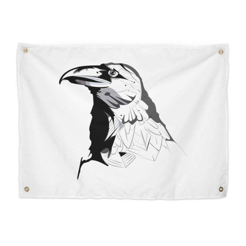 Crow Headshot Home Tapestry by Shirt For Brains
