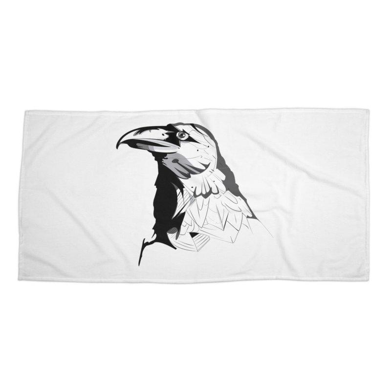 Crow Headshot Accessories Beach Towel by Shirt For Brains