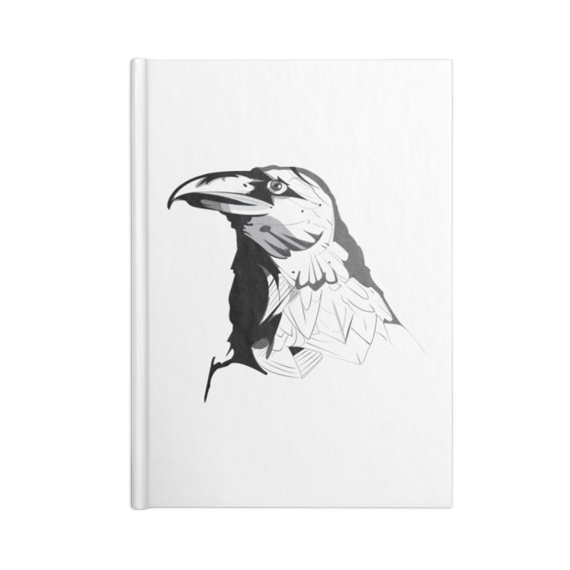 Crow Headshot Accessories Blank Journal Notebook by Shirt For Brains