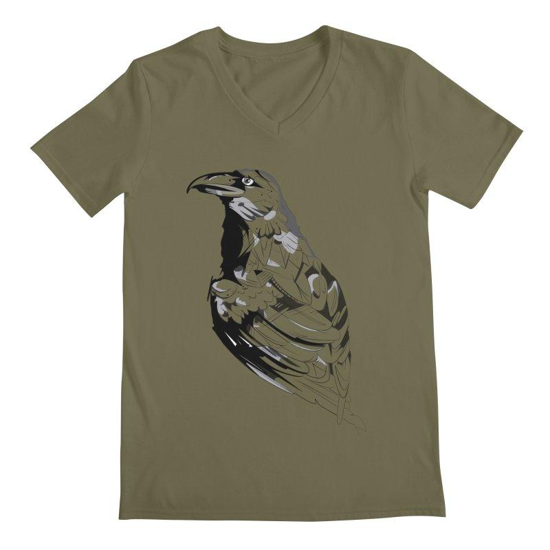 Crow Men's Regular V-Neck by Shirt For Brains
