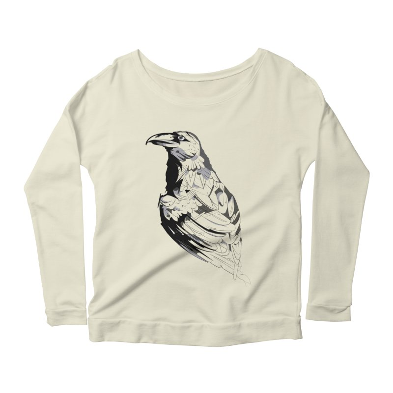 Crow Women's Scoop Neck Longsleeve T-Shirt by Shirt For Brains